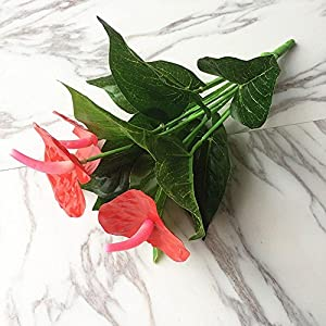 Ligntean Nice DIY Craft High Quality Silk Anthurium Home Party Decor Artificial Flowers Fake Bouquet 2