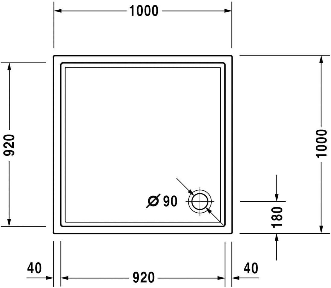 Duravit Plato de ducha Duravit STARCK Slimline 1000x1000x50mm ...