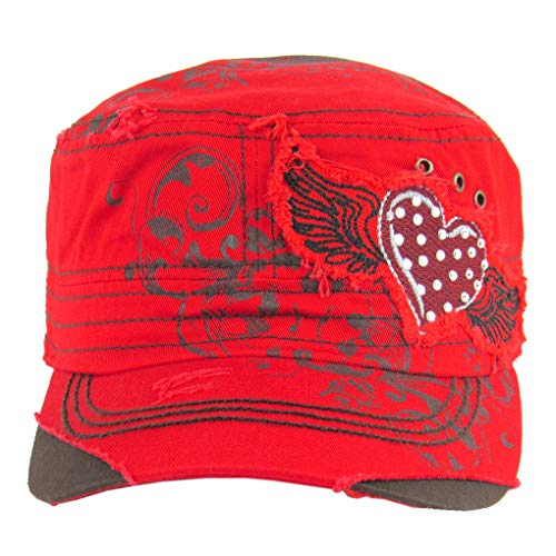 SILVERFEVER Women's Military Cadet Cap Hat - Patch Cotton - Studded & Embroidered (Red, Heart Angel Wings)