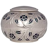 Silver Vines Funeral Urn by Liliane Memorials - Cremation Urn for Human Ashes - Hand Made in Brass - Suitable for Cemetery Burial or Niche - Large Size fits remains of Adults up to 180 lbs