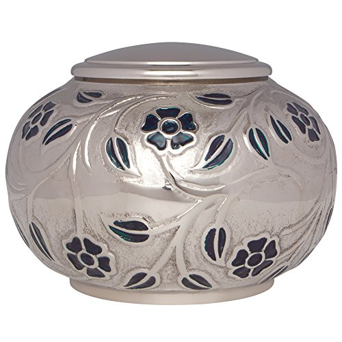 Silver Vines Funeral Urn by Liliane Memorials - Cremation Urn for Human Ashes - Hand Made in Brass - Suitable for Cemetery Burial or Niche - Large Size fits remains of Adults up to 180 lbs by Liliane Memorials (Image #4)