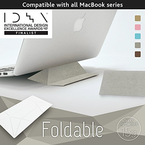 Foldable Laptop Stand (ECO Grey) IDEA 2017 Finalist Ultralight (15g) Ultra Thin (0.8mm) Portable Origami, Comp. for all Mac, Reduces Back, Shoulder, Wrist Pain, Dissipates Heat, Made In Japan by ECBB MAKERS. USA