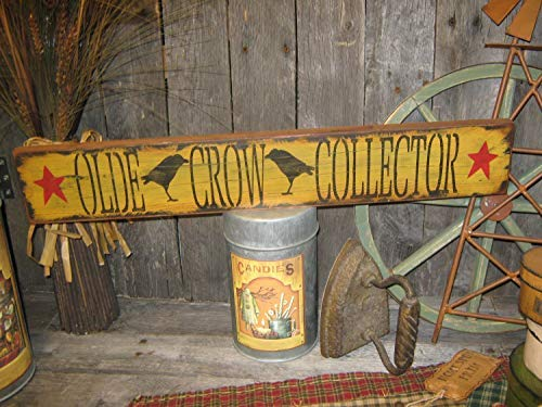 Wooden Christmas Yard Art - Iliogine Wooden Sign for Home Decor Primitive 20 Hand Printed Olde Crow Collector Country Folkart Wall Housewares Decor Craft for Bedroom Kithchen Gardern Desk