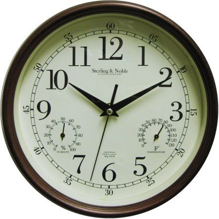"8.75"" Mainstays Indoor/Outdoor Wall Clock, Antique Bronze"