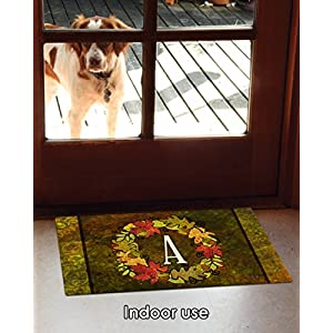 Toland Home Garden Fall Wreath Monogram A 18 x 30 Inch Decorative Autumn Floor Mat Colorful Leaves Doormat 4