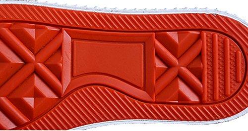 VECJUNIA Mädchen Jungen Atmungsaktiv Doppelte Linie Elastische Haken und Loop Kinderschuhe Outdoor Sneakers Rot