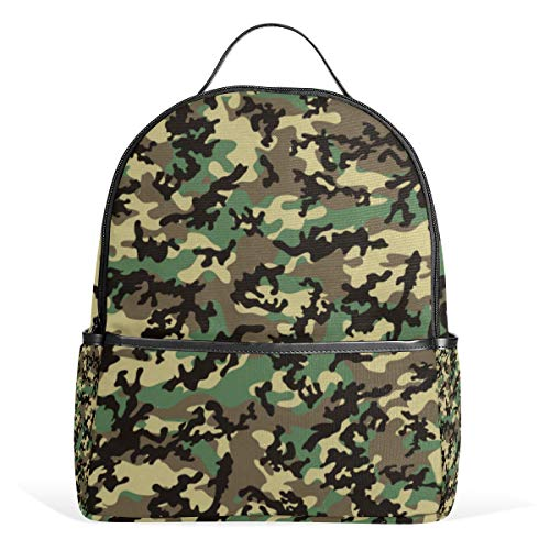 (XINGAKA Mini Backpack for Girls Classic Woodland Camo Pattern Seamless Repeatable Travel Bags Womens Casual Fashion School Sport Outdoor Daypack Accessories Ruchsack)