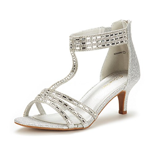 DREAM PAIRS Women's Roxanne Silver Glitter Fashion Stilettos Open Toe Low Heel Dress Pump Heel Sandal Size 8.5 B(M) US]()