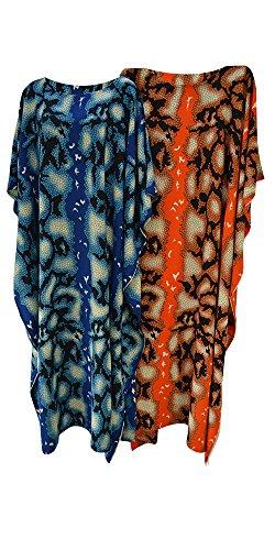 generoso stampa da pelle in Caftano colori a etnico Blue e stile serpente con brillanti di mano a lungo donna fatto 8wInBnqx4g