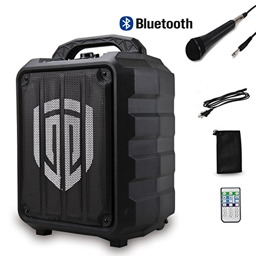 PRORECK Portable 8-Inch 2-Way Rechargeable Powered Dj/PA Speaker System with Wired Microphone Bluetooth/USB Drive / FM Radio/LED/Remote Control, for Party, Picnic, Performance,Trip