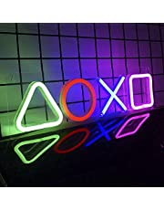"""Gaming Neon Lights, Neon Signs for Bedroom Decor, Playstation Icon, USB Powered Led Neon Sign (16.5""""x4.7"""") for Video Game Room Wall Decor, Living Room, Man Cave Bar Party Decoration Accessories"""