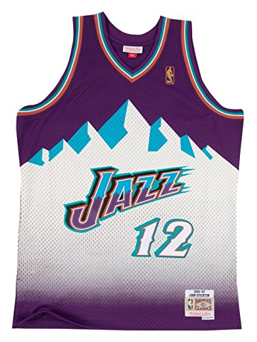 Hardwood Jersey - John Stockton Utah Jazz Mitchell and Ness Men's Purple Throwback Jesey Medium