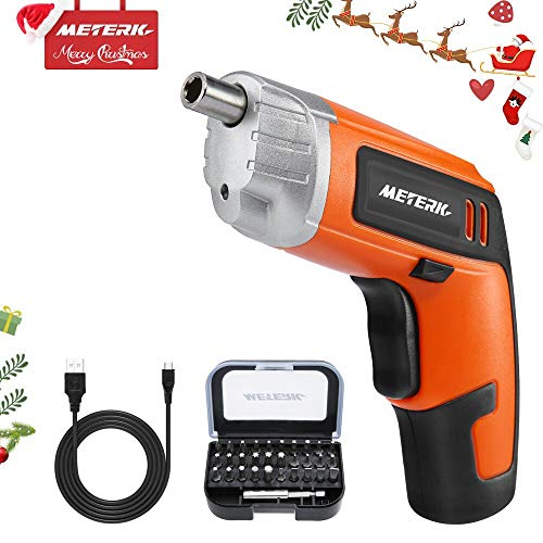 Meterk Cordless Electric Screwdriver Rechargeable Drill 3.6V 2000mAh MAX Torque 5N.m 30pcs Screw Bits, Drill Bit Extension Holder, USB Charging with LED Light