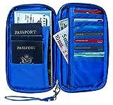 RFID Travel Passport Wallet & Document Organizer Zipper Case , Black or Blue (Blue)