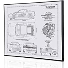 Ferrari Testarosa Blueprint Artwork-Laser Marked & Personalized-The Perfect Ferrari Gifts