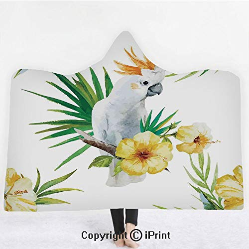 "Parrots Decor 3D Print Soft Hooded Blanket Boys Girls Premium Throw Blanket,Hibiscus with Bird Intelligent Mimic Animals Creatures of Wild Regions Artwork,Lightweight Microfiber(Kids 50""x60"")White Yel ()"