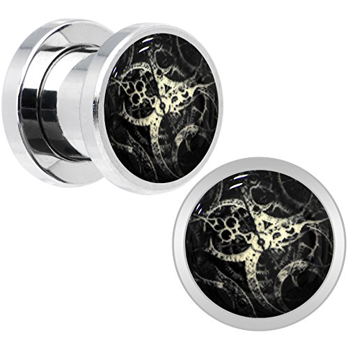 Stainless Steel Steampunk Gears Glow in the Dark Screw Fit Plug Pair 0 Gauge (Gear Gauges)