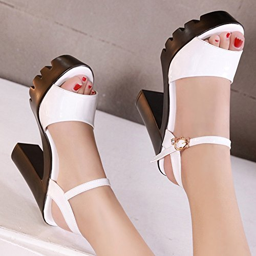 JULY Heel On Platform Comfy Peep T for Slippers Sandals High Fashion Sandals White Straps Toe Ankle Dress Wedge Slip dwZw6Xx