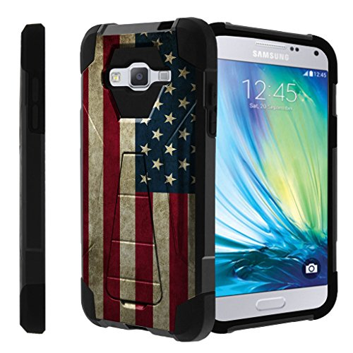 Untouchble Case for Samsung Galaxy J3, Express Prime Case, Amp Prime Case, Sky Case, Samsung J3V [Traveler Series]- Dual Layer Hard Plastic Inner Silicone Stand Case - Vintage American Flag