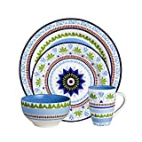 Euro Ceramica Marrakesh Collection 16 Piece Ceramic Dinnerware Set, Service for 4, Multicolor