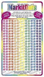 "Map Dot Stickers - Assorted Colors (Transparent - 1/8"" Diameter"