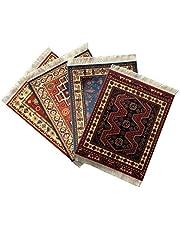 Inusitus Set of 4 Rug Mouse Pads | Oriental Turkish Design | Miniature Carpet Mats (Set-2)