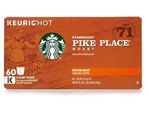 Starbucks Coffee EGiqHK K-Cups, Pike Place Medium Roast, 60 Count (Pack of 4) by StarTWcks