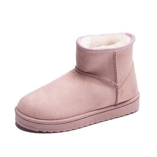 QI-CHE-YI Zapatos de Mujer, Botas de Nieve Red roja de la Manera ...