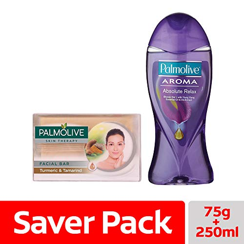 Palmolive Skin Therapy Soap Bar with Turmeric & Tamarind – 75 gm with Palmolive Aroma Absolute Relax Shower Gel – 250ml