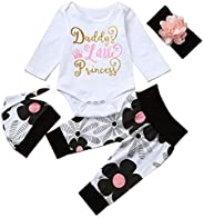 i-Auto Time Newborn Kids Baby Girl Romper + Flowers Pants + Hat + Headband Outfit Set