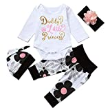 Cute 4PCs Newborn Kids Baby Girl Daddy Little Princess Romper + Flowers Pants
