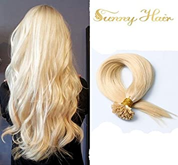 Sunny U Tip Keratin Remy Hair Extensions 613 Ash Blonde 18quot 1g S