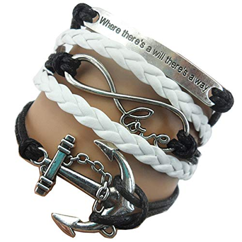 Ac Union Handmade Where There's a Will There's a Way Anchor Charm for Friendship Gift - Fashion Personalized Leather Bracelet