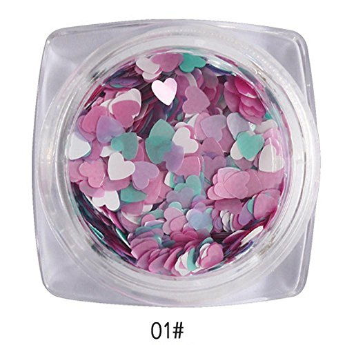 Nail Art Glitter Sticker, Fheaven 7g Mixed Heart Thin Nail Art Glitter Paillette Nail TipGel Polish Decoration (A) -