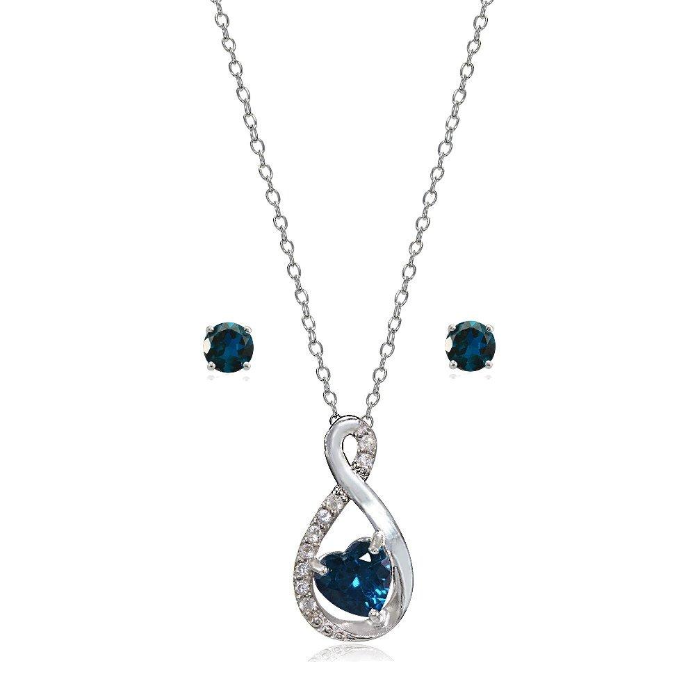 Lovve Sterling Silver London Blue Topaz & White Topaz Infinity Heart Necklace Earrings Set