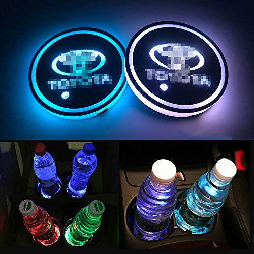 Autoxo LED Car Cup Holder Lights for Toyo-ta 7 Colors Changing USB Charging Mat Luminescent Cup Pad LED Interior Atmosphere Lamp - Holder Led Lights