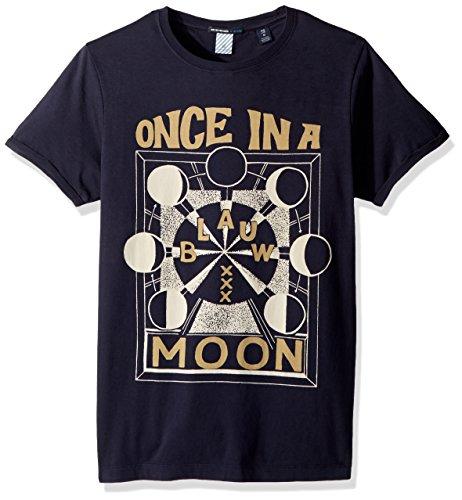 - Scotch & Soda Men's AMS Blauw Regular fit Graphic tee, Night, S