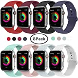 AdMaster Compatible for Apple Watch Band 38mm/40mm, Soft Silicone Replacement Wristband Classic Sport Strap Compatible for iWatch Apple Watch Series 1/2/3/4, Edition, Nike+, S/M Size 8 Pack