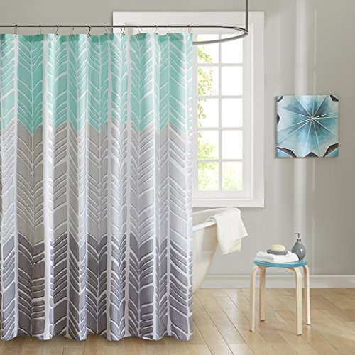 (Intelligent Design ID70-791 Adel 100% Microfiber Printed Shower Curtain 72x72 Aqua, 72 x 72,)