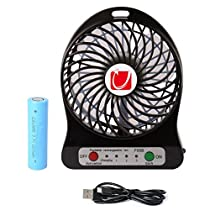 3 Speeds Mini Hand held Portable USB Fan-DB.WOR, Two Kinds of Power-supply Modes,Bring The LED Lighting, 4 Blades, 3 Level Wind Speed, Suitable for Hiking, Camping, Picnic, Indoor and Other Occasions