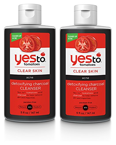 Yes to Tomatoes Detoxifying Charcoal Cleanser (Pack of 2) with Charcoal Powder, Tomato Fruit Extract, and Gingko Biloba Leaf Extract, 5 fl. oz.