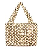 Miuco Women's Vintage Style Pearl Tote Bags Evening Clutch Wedding Purse (Gold)