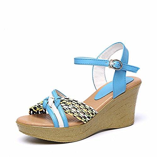 Bollo Tacones Pendiente AJUNR de Fondo 8cm Sandalias Dama Tacones Transpirable green Grueso Moda los Verano Zapatos Dedos de pies En Elegante de los vqvH8