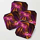 Society6 Drink Coasters, Dance With Me, Modern Abstract Fractal Art by gabiwart, set of 4