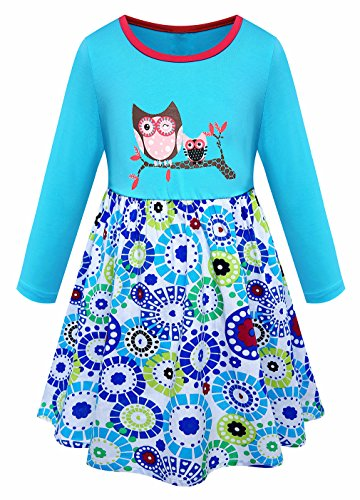Girls Owl Printed Pure Cotton Long Sleeve Casual Flower Pleated Duck Blue Dress (Girls Owl Dress)