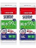 【まとめ買い】 スコッティ ウェットティシュー 純水99% ノンアルコール 詰替用 130枚 × 2個
