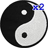 Pack of 2 Yin Yang Tao Dao Rainbow Chinese DIY Applique Embroidered Sew Iron on Patch YY-06
