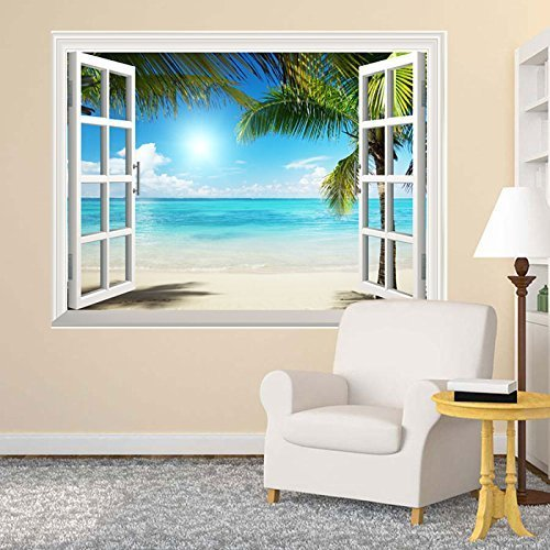 Wall26 White Sand Beach with Palm Tree Open Window Wall Mural, Removable Sticker, Home Decor - 36x48 inches by wall26 (Image #2)