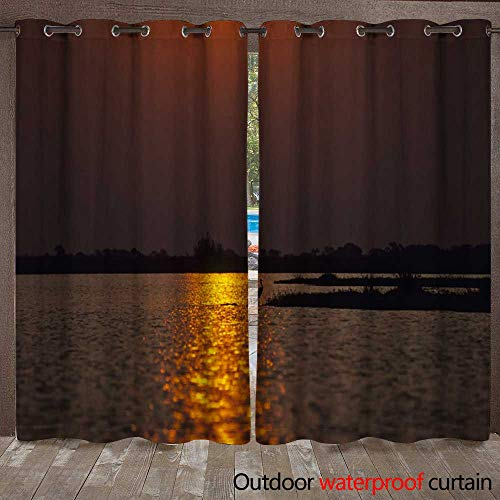 - WinfreyDecor Outdoor Curtains for Patio Sheer African Birds Goliath Heron at Sunset W108 x L84