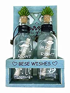 Double Drift Bottles With Rectangle Wooden Frame (Blue)